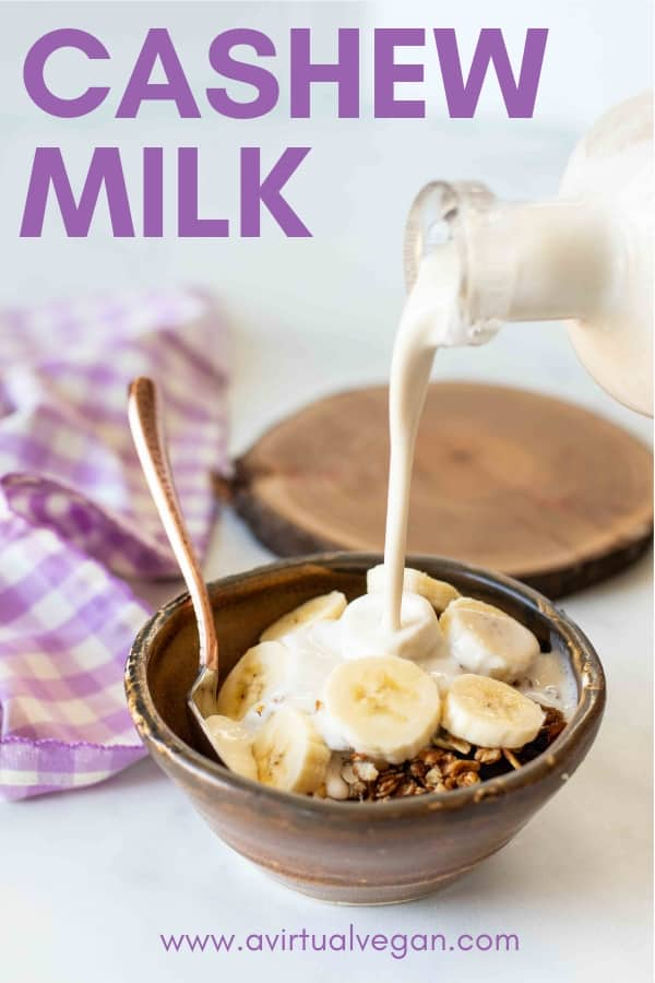 Learn how to make cashew milk. It's super rich and creamy and one of the easiest plant-based milks to make yourself because there is no straining involved!