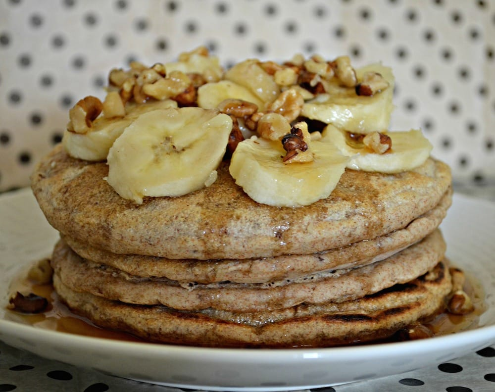 Healthier Vegan Spelt Pancakes. No eggs, no dairy. You can be vegan and eat pancakes!