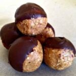 a pile of peanut butter and chocolate energy balls