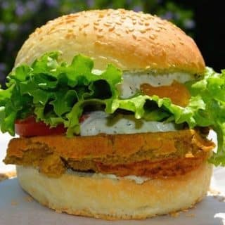 Falafel Waffle Burgers With Mango Chilli Sauce & Mint Raita