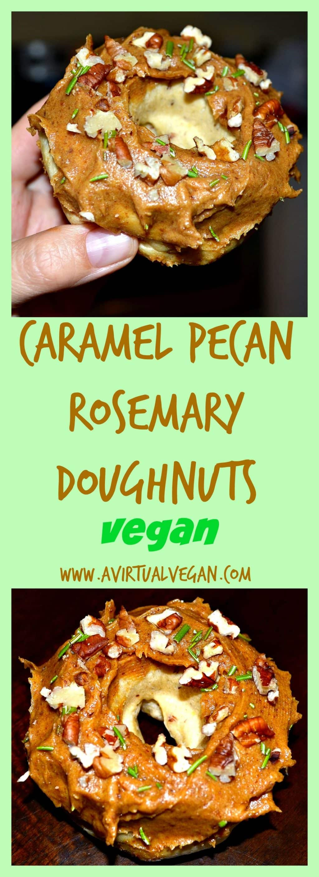Sticky caramel, crunchy pecans and rosemary topped doughnuts. A flavour combination that you will love!