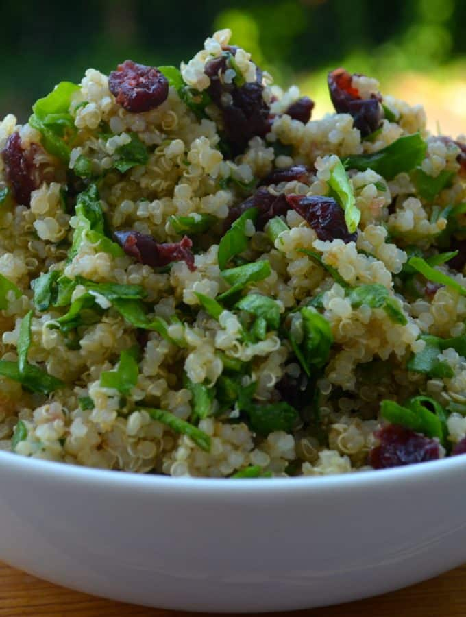 Lemon, Spinach & Cranberry Quinoa Salad