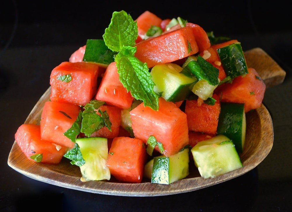 minted watermelon and cucumber salad