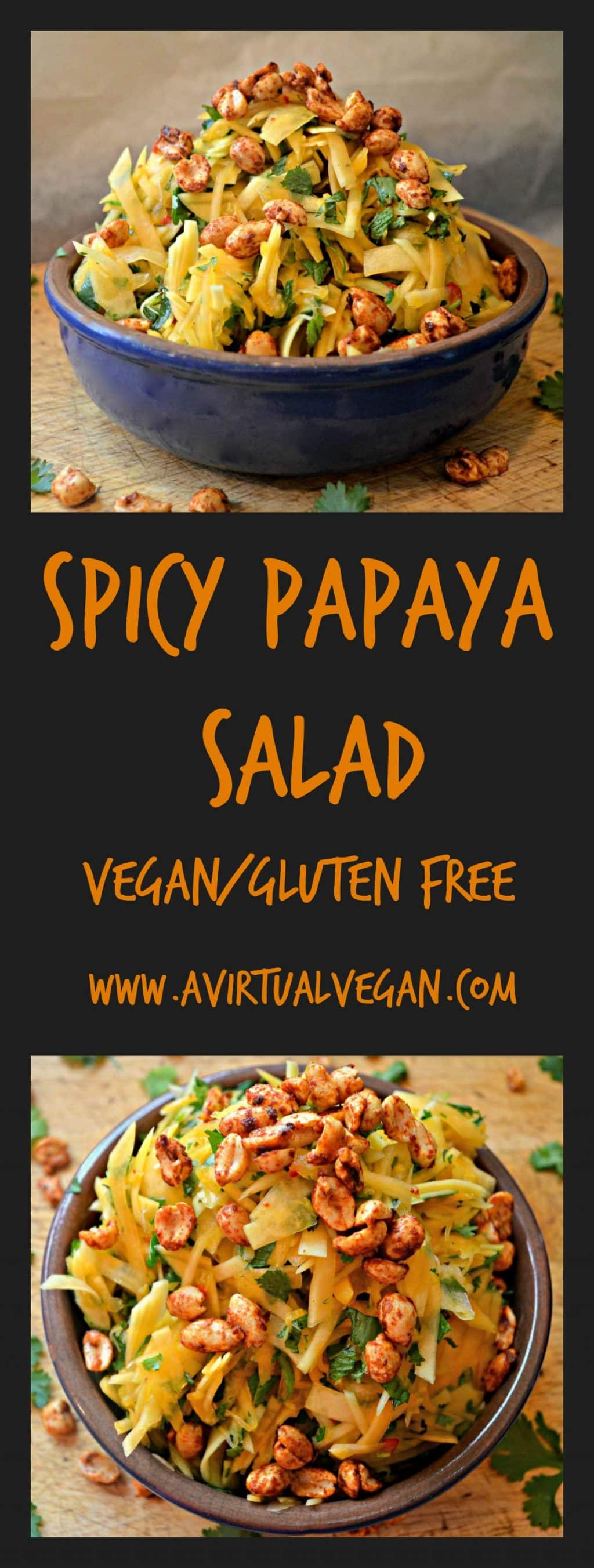Fed up with boring green salad? Try this fresh and spicy papaya salad with smoky roasted peanuts and a lime chilli dressing. Fresh, vibrant and healthy. #papayasalad #papaya
