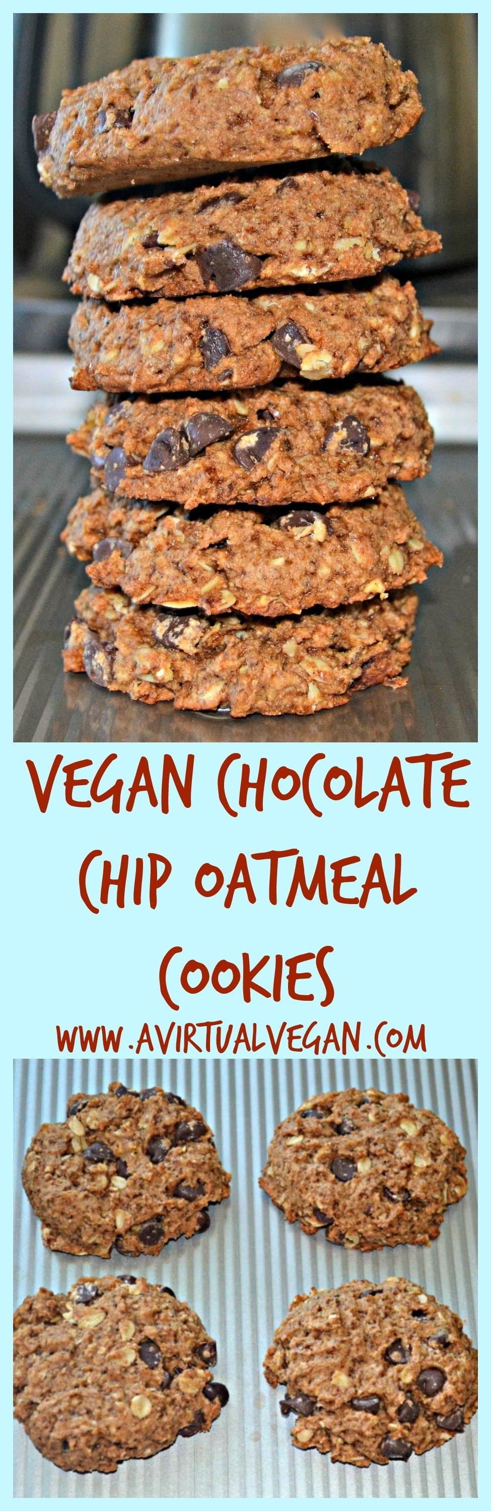 Use your leftover oat milk pulp to make these healthier, delicious, soft & chewy Chocolate Chip Oatmeal Cookies #oatpulp #oatmilk #cookies #oatmealcookies #vegan