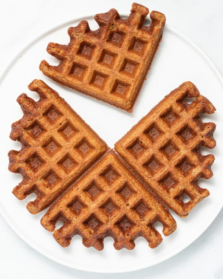 apple waffles on a white plate