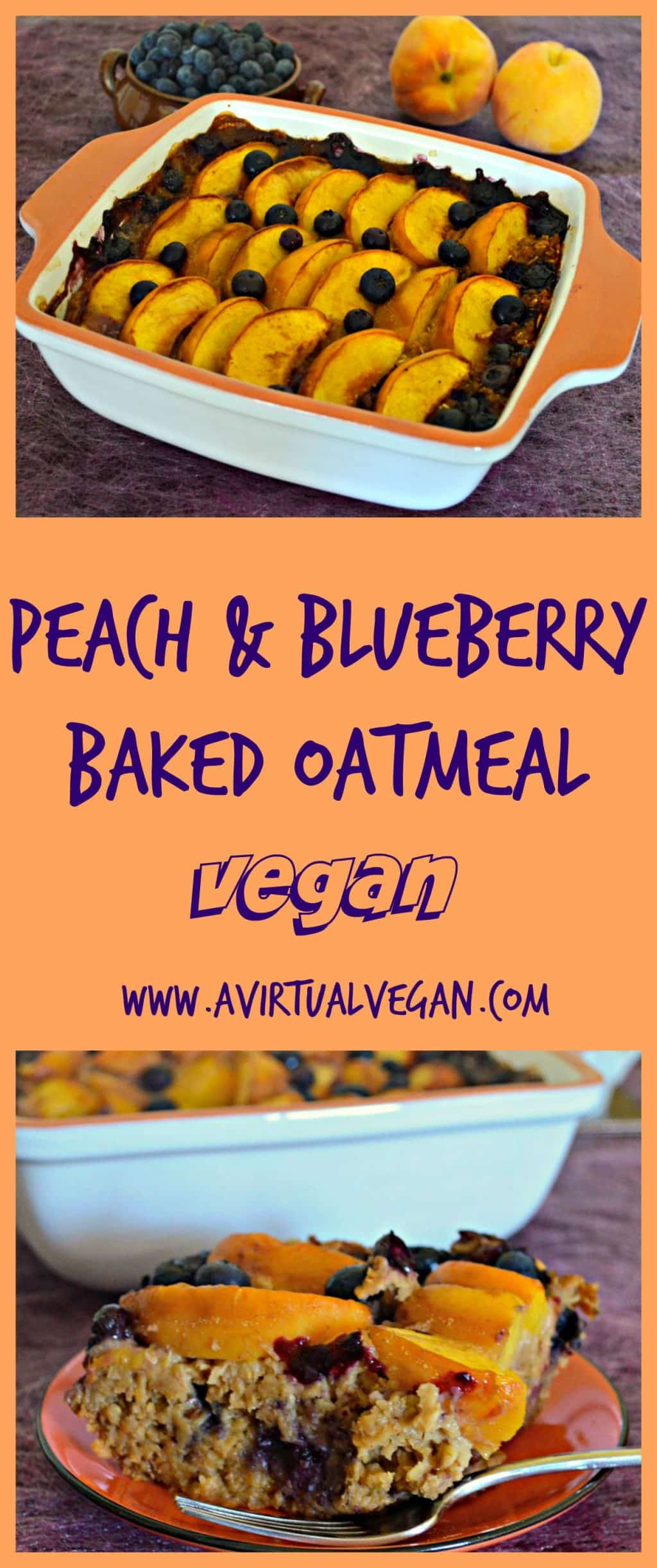 Sweet, juicy peaches and blueberries come together beautifully in this Peach Baked Oatmeal with Blueberries. A delicious & healthy breakfast.  #bakedoatmeal #breakfast #vegan