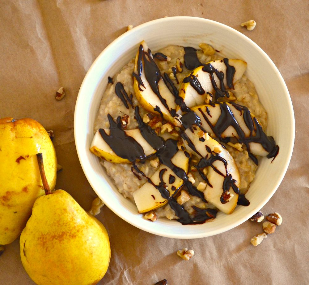 Pear & Walnut Oatmeal With Salted Chocolate Sauce