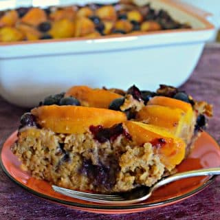 Peach Baked Oatmeal with Blueberries
