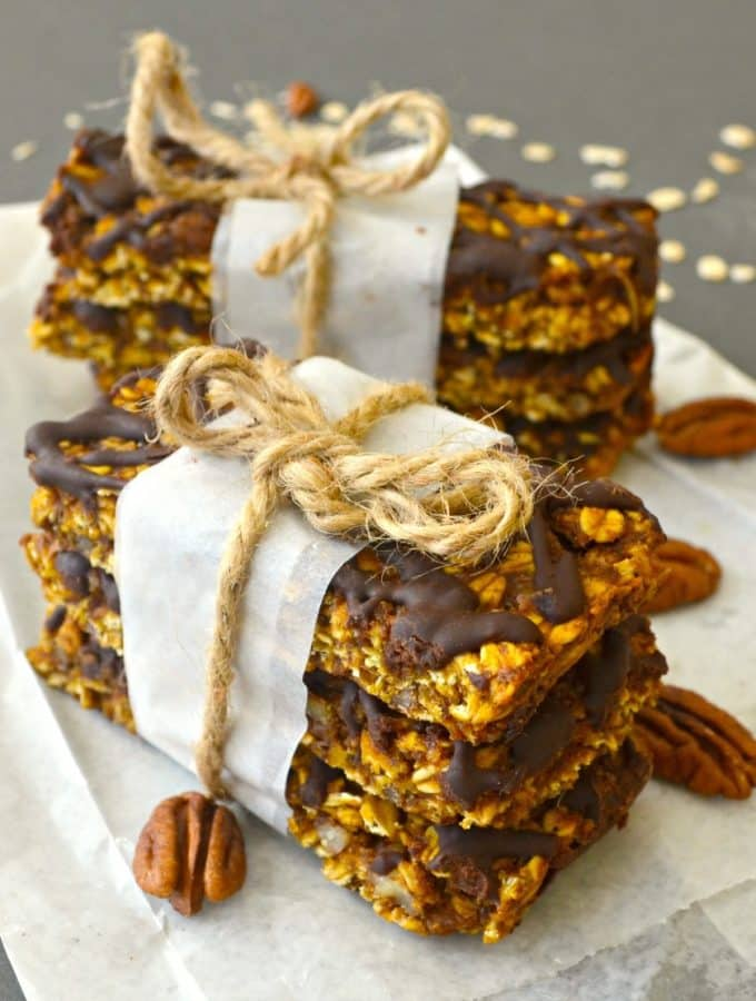 Pumpkin Granola Bars with Pecans & Chocolate