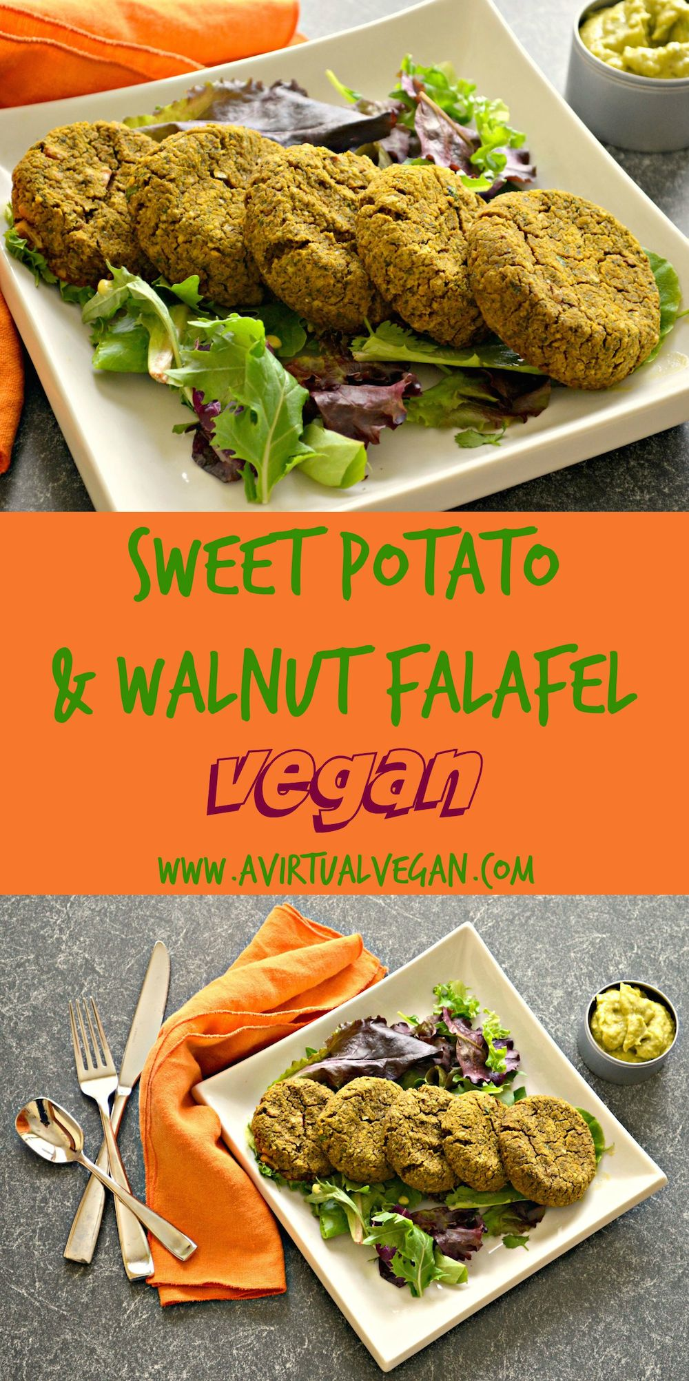 Delicious and healthy Sweet Potato Falafel with Walnuts. Baked not fried, perfectly moist and full of flavour. #falafel #vegan