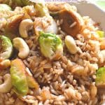 A simple, super speedy & delicious brussels sprout fried rice with buttery cashew nuts in a delicious tamari, maple sauce.