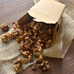 This chocolate caramel popcorn is seriously addictive. Drenched in rich, buttery salted caramel, baked until perfectly crisp & then finished with lashings of chocolate, it is totally & utterly delicious & absolutely dairy free!