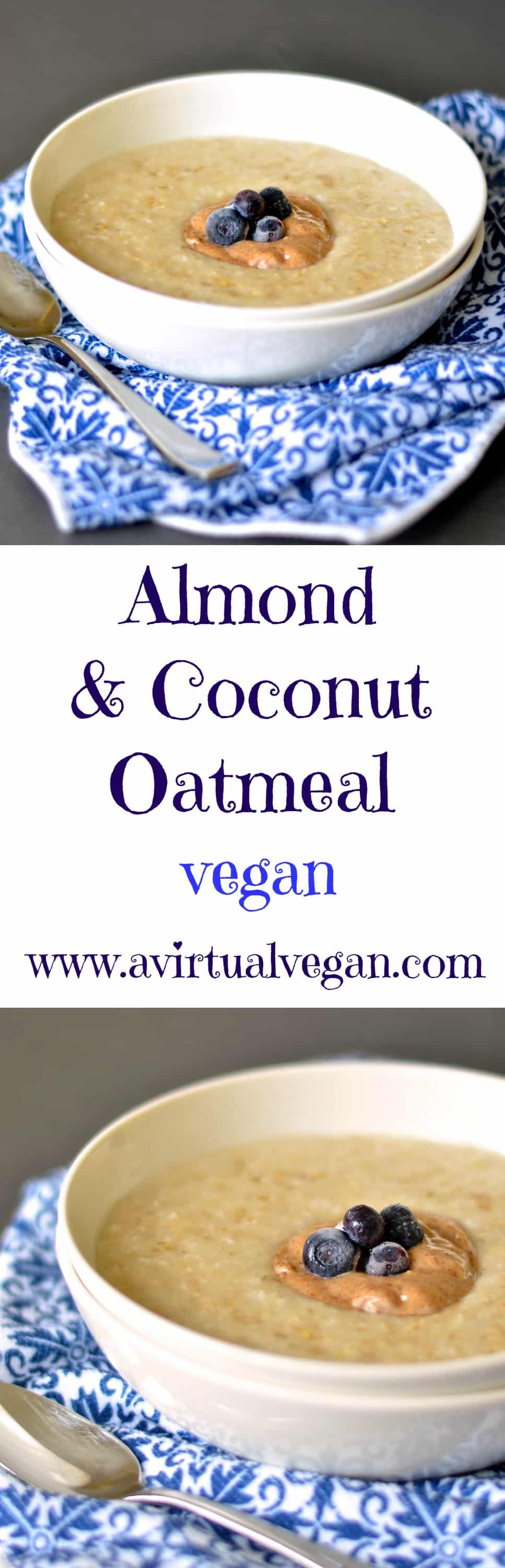 Upgrade your regular bowl of oatmeal to this ultra creamy & rich bowl of almond and coconut gorgeousness and I promise you won't be disappointed! #oatmeal #vegan #almond #coconut