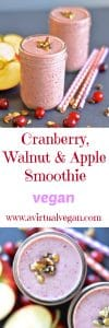 This creamy Cranberry, Walnut & Apple Smoothie is perfect for the holidays and will really hit the spot with it's warm & spicy fall flavours.