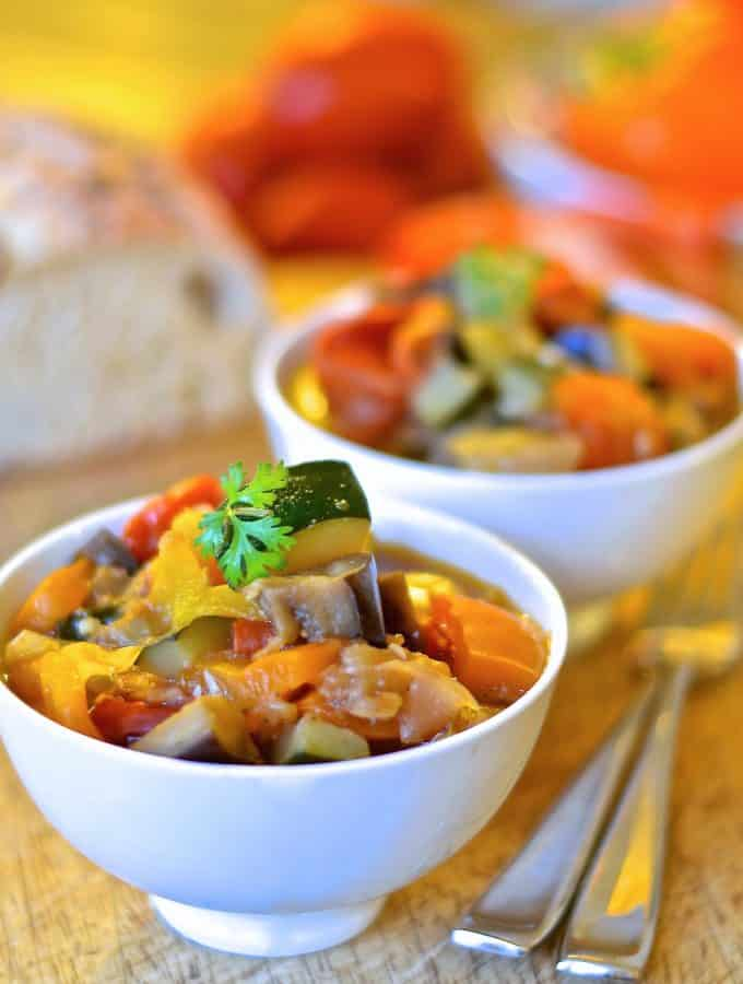 Aromatic herbs & beautiful fresh vegetables come together in this very hearty, super healthy Ratatouille which combines big flavour with simplicity. A perfect, quick & easy week night dinner!