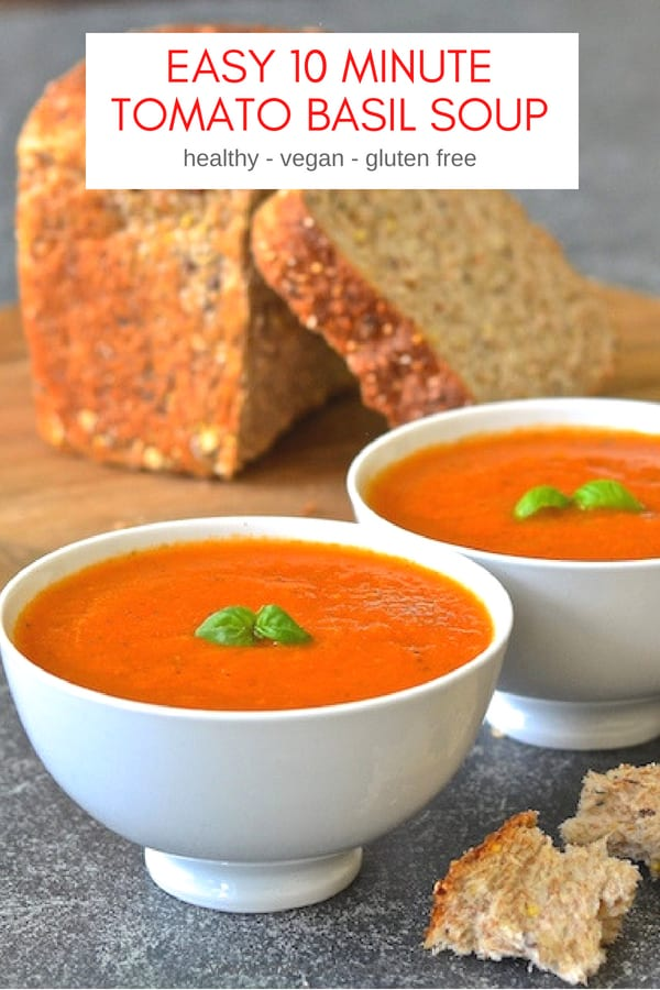 The easiest Tomato Basil Soup EVER and it's so fresh & vibrant. Made with just 4 ingredients (plus salt, pepper & optional olive oil) and it only takes 10 minutes to make! #tomatosoup #tomatobasilsoup #soup #vegansoup #tomato #basil