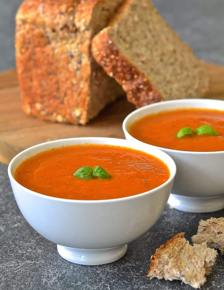 10 Minute Easy Tomato Basil Soup Dairy Free Vegan A Virtual Vegan