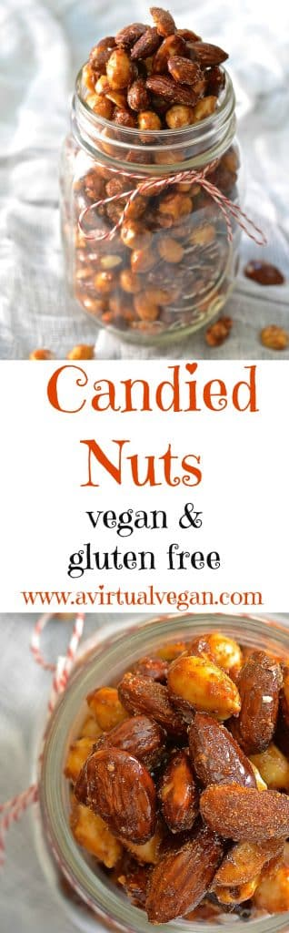 Perfectly sweet & spicy, chewy & crunchy vegan candied nuts. Make a double batch because everybody will go nuts for these (sorry....couldn't resist)!