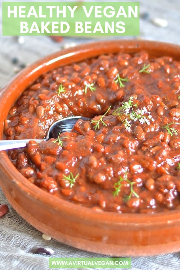 Comforting, delicious and healthy Vegan Baked Beans with rich, deep & complex flavors. Includes instructions for slow cooker and stove top