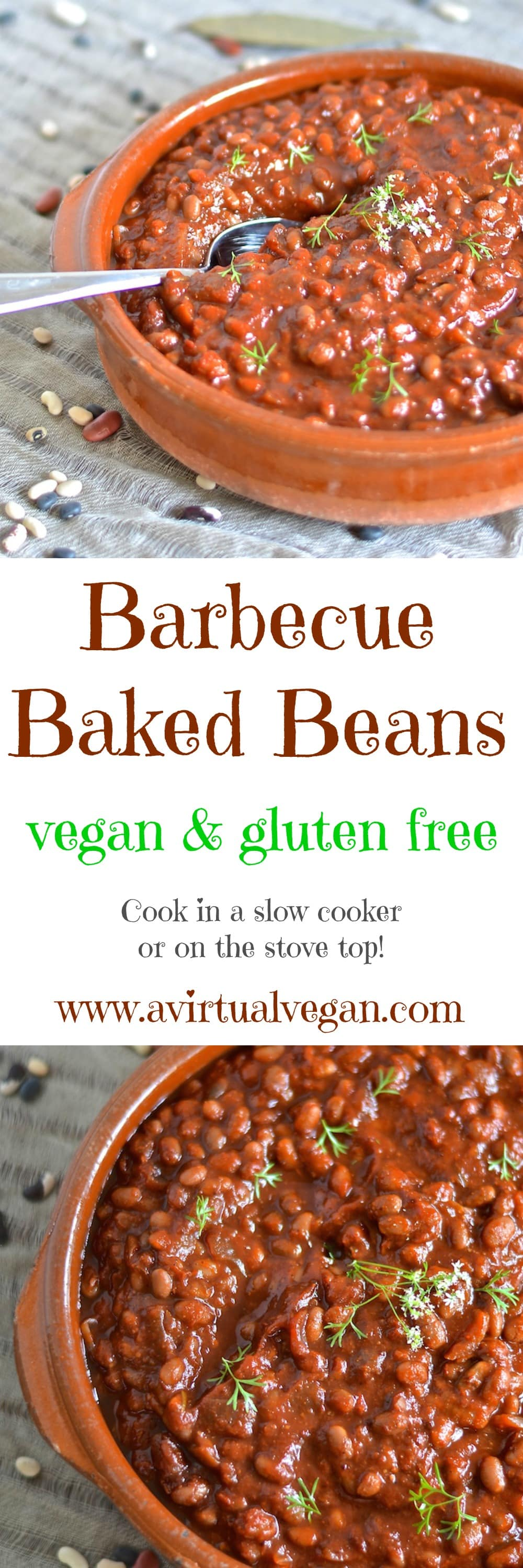 These thick, sweet & smoky vegan slow cooked barbecue baked beans need a little initial prep then you can leave them to do their thing while you do yours. You will be rewarded with a comforting & delicious pot of the most amazing baked beans with rich, deep & complex flavours.