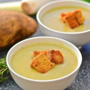 A super quick & easy Vegan Potato Leek Soup with only 5 ingredients (plus water & seasoning). It's creamy, comforting & healthy & makes the perfect light lunch or a more substantial dinner with lots of crusty bread, spread with a generous amount of my vegan butter, for dunking!