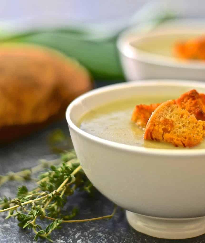 Vegan Potato Leek Soup with a bunch of fresh thyme