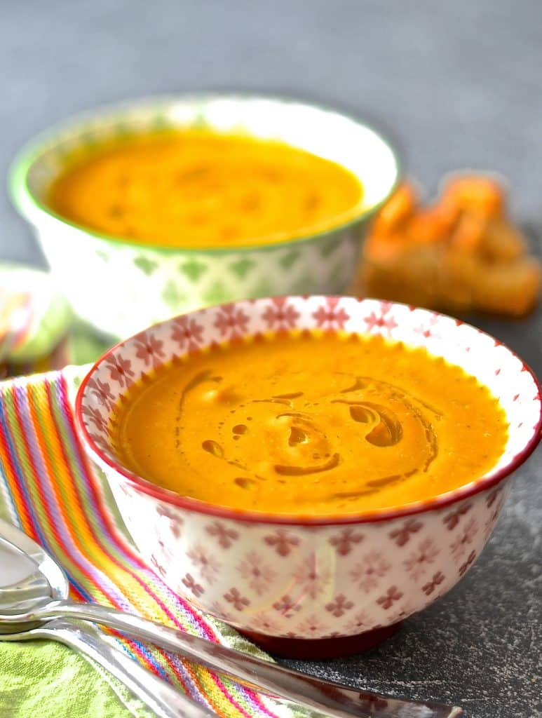 ... creamy coconut carrot & ginger soup. It's like a surprise burst of