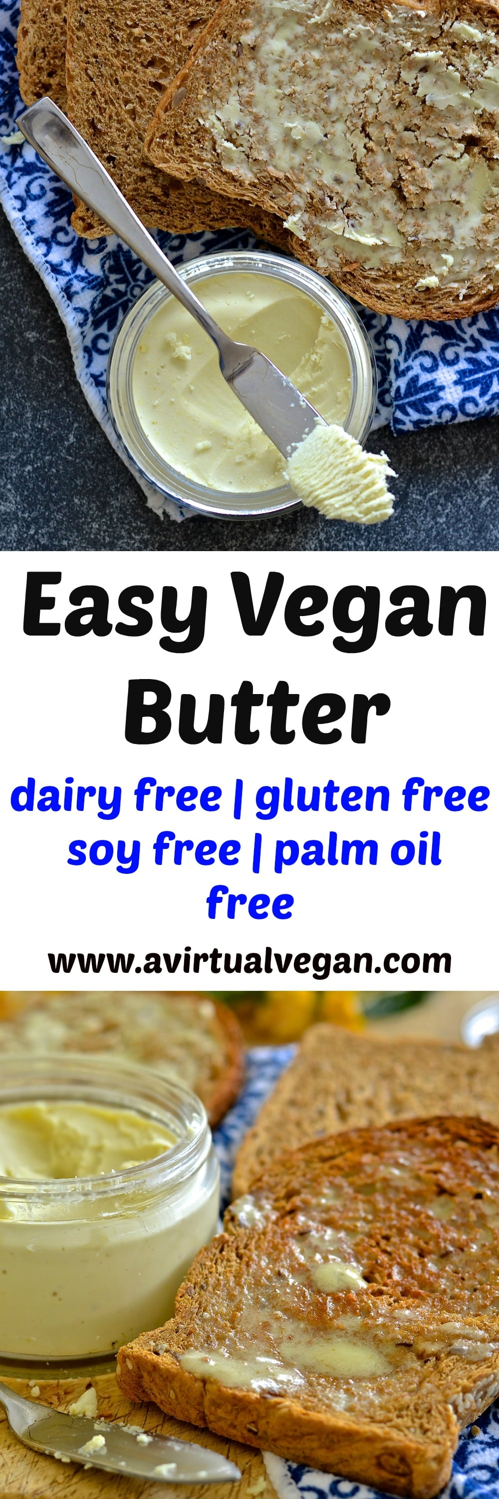 If you love butter but hate the ingredients in store bought dairy free versions then this vegan butter recipe is the answer to your prayers. It is dreamily smooth, rich & creamy & can be whipped up in minutes. It is also palm oil & emulsifier free & can be used in any way you would use real butter!