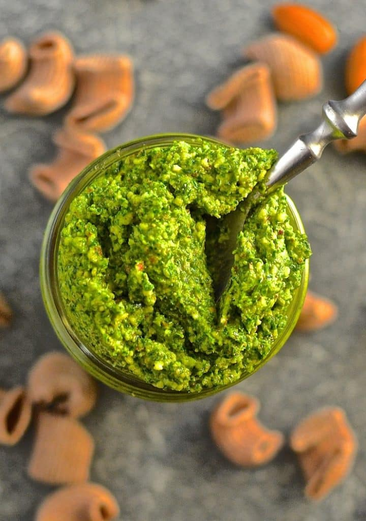 This Kale Almond Pesto makes a wonderful alternative to traditional basil pesto plus it's cheaper to make & it's dairy free. Stir through freshly cooked pasta for a super fast & nutritious meal!