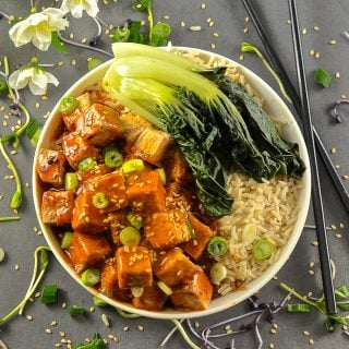 This Five Spice Tofu with Chili Ginger Sauce is so fast and easy to make. It's sweet, sticky & spicy with amazing depth of flavour. A perfect mid-week meal!