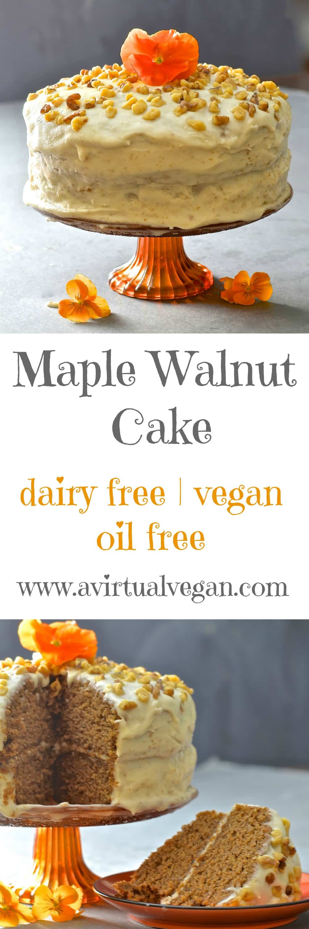 Tender, moist nutty sponge sandwiched together with creamy maple infused frosting. Completely dairy, egg & oil free yet perfectly sweet & decadent, this maple walnut cake is total perfection!