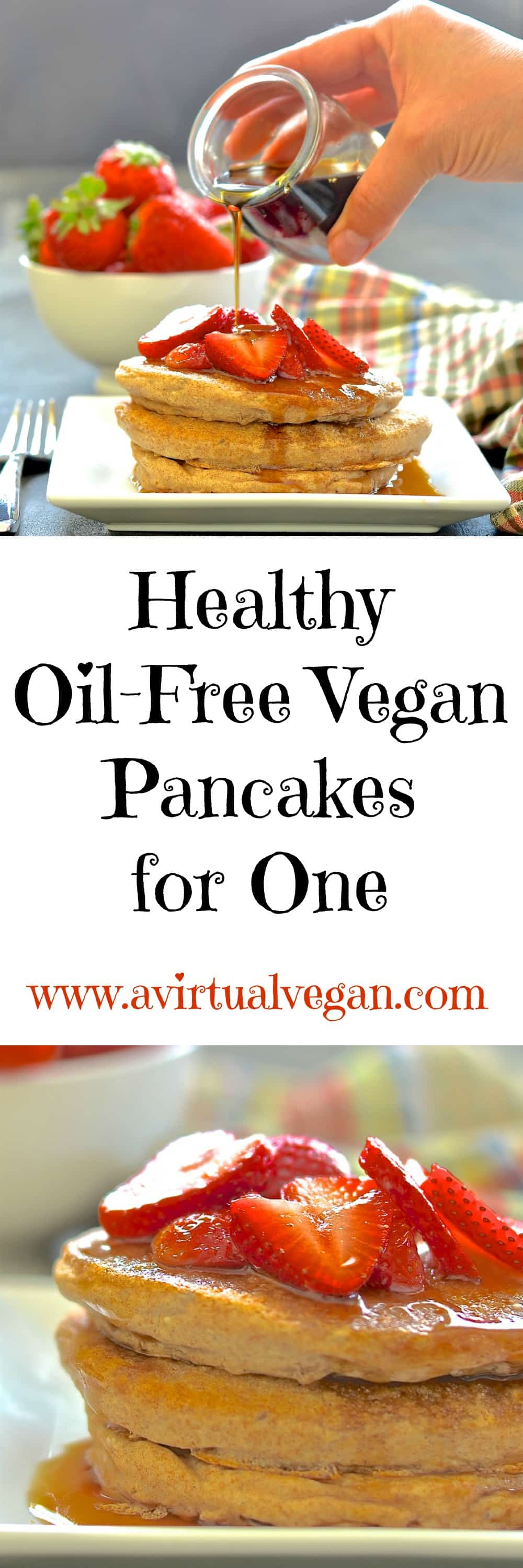 Make your breakfast special with these healthy but very delicious, beautifully soft, very fluffy, oil-free vegan pancakes for one. #pancakes #vegan #breakfast #veganpancakes