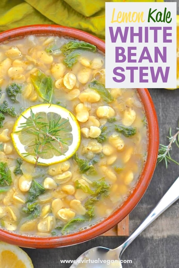 A simple, light & summery white bean stew made with everyday ingredients. Full of fresh lemony, garlicky flavour & ready in under 30 minutes! #veganstew #veganrecipe