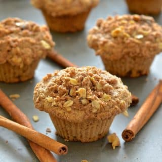 Deliciously soft & fluffy apple muffins, loaded with sweet, tender fruit and topped with an irresistibly crumbly, cinnamony, streusel topping.