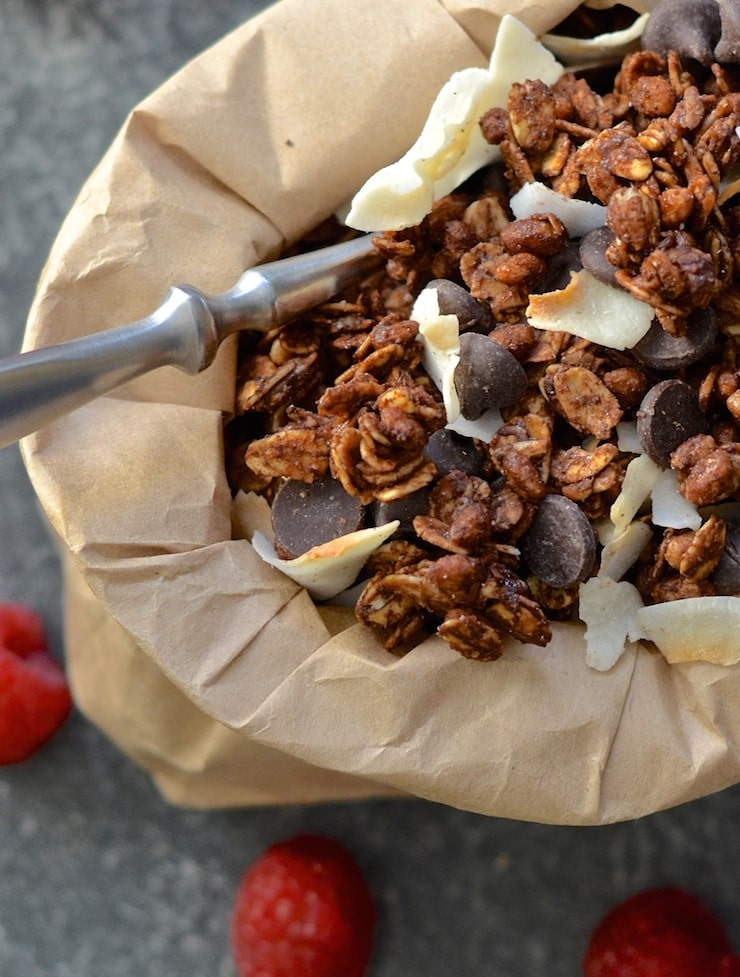 This is the ultimate double chocolate coconut granola recipe. Crunchy, chewy, chocolatey, coconutty, not too sweet, slightly salty.....Flippin' gorgeous!