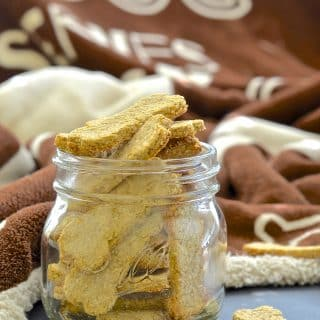 Make your dog's day by baking some healthy, 3 ingredient, wheat-free & dairy-free Sweet Potato Dog Cookies!