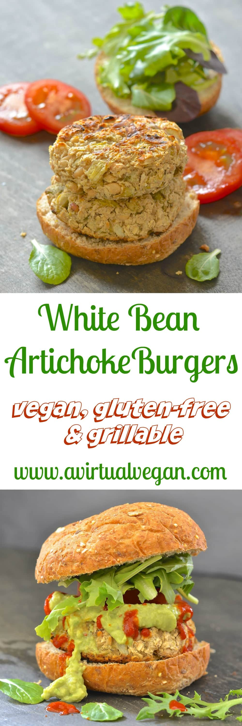 Easy & incredibly tasty White Bean Artichoke Burgers with hints of lemon & rosemary. Perfect served with lots of gloriously green guacamole & a dribble of hot sauce!