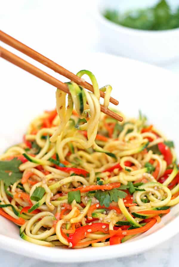 Summery, light, healthy & delicious Miso Zucchini Noodles. Ready from start to finish in under 15 minutes & no cooking required!