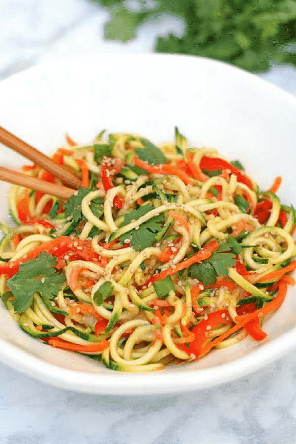 Summery, light, healthy & delicious Miso Zucchini Noodles. Ready from start to finish in under 15 minutes & no cooking required! #vegan #spiralized #zoodles #raw