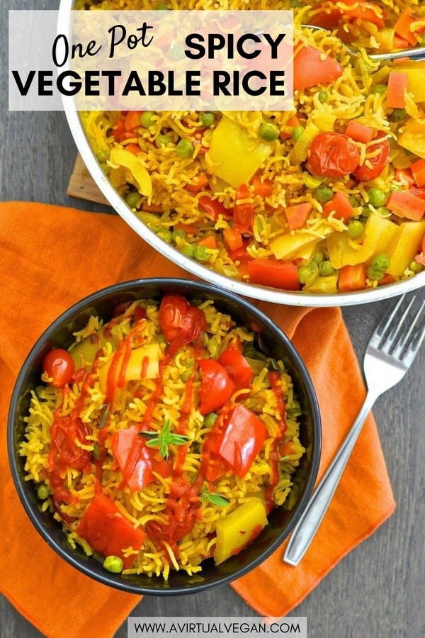 This One-Pot Spicy Vegetable Rice is our go to favourite mid-week dinner. 3o minutes & one pot is all that is standing between you & a big bowl full of deliciously spiced, flavourful rice studded with sweet, soft veggies. #rice #vegetablerice #savoryrice #savouryrice #vegan #vegetarian #entree