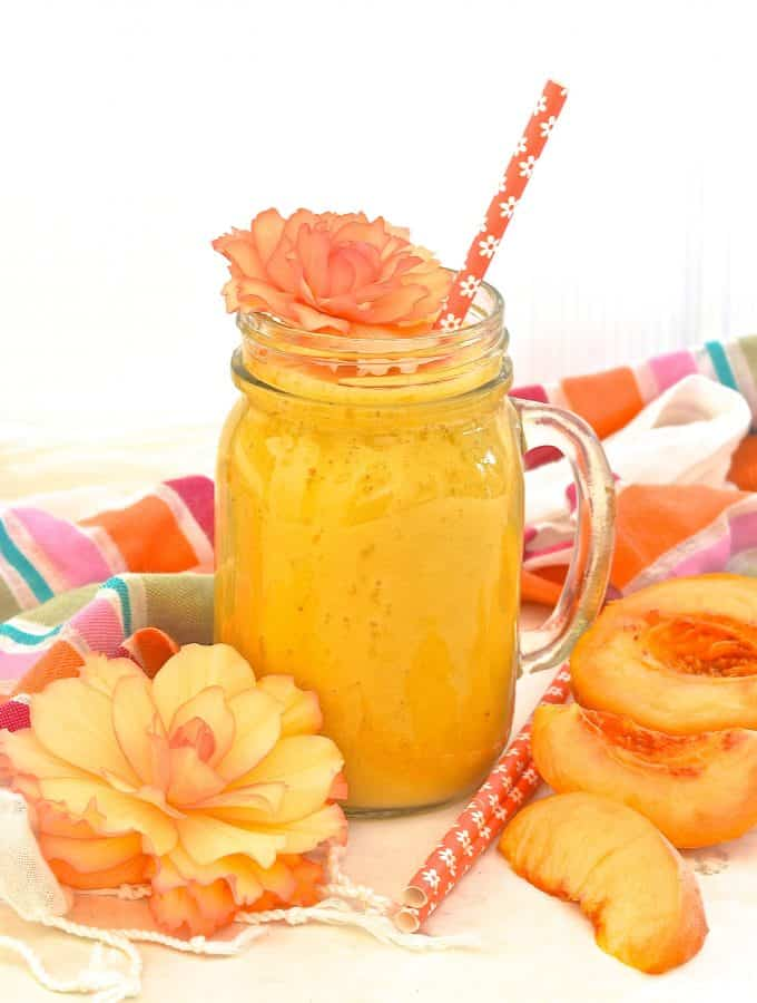Fresh juicy peaches & fragrant, warm fresh ginger combine to make this beautiful, fresh, summery & uplifting Ginger Peach Smoothie.