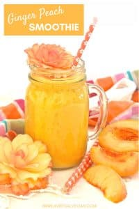 Fresh juicy peaches & fragrant, warm fresh ginger combine to make this beautiful, fresh, summery & upliftingGinger Peach Smoothie.
