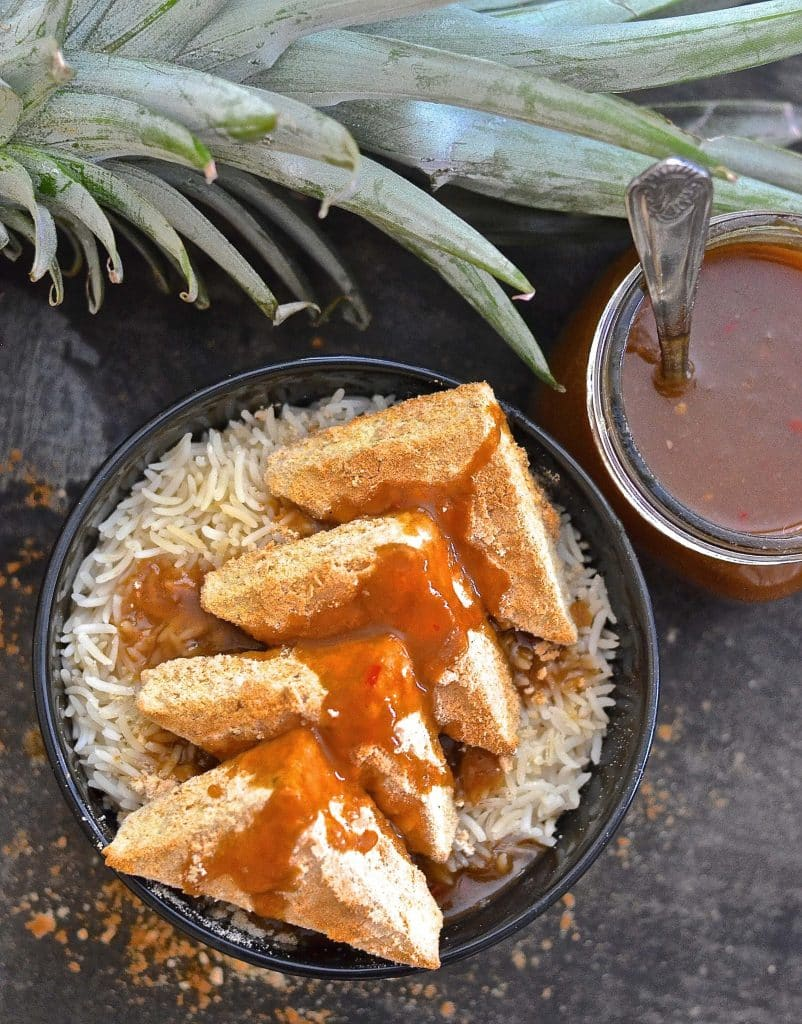 You will love this quick & easy, super tangy, sweet & spicy Garlic Pineapple Sauce. Great for stir fries, rice bowls, as a marinade or as a dipping sauce.