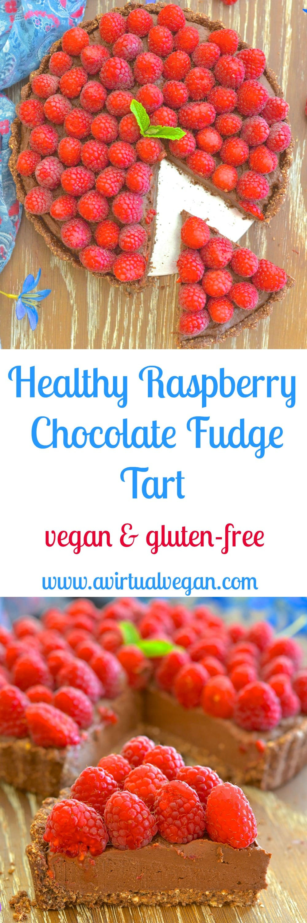 Want a dessert that looks & tastes decadent but is secretly healthy? I've got you covered with my decadent but Healthy Fudgy Chocolate Raspberry Tart.