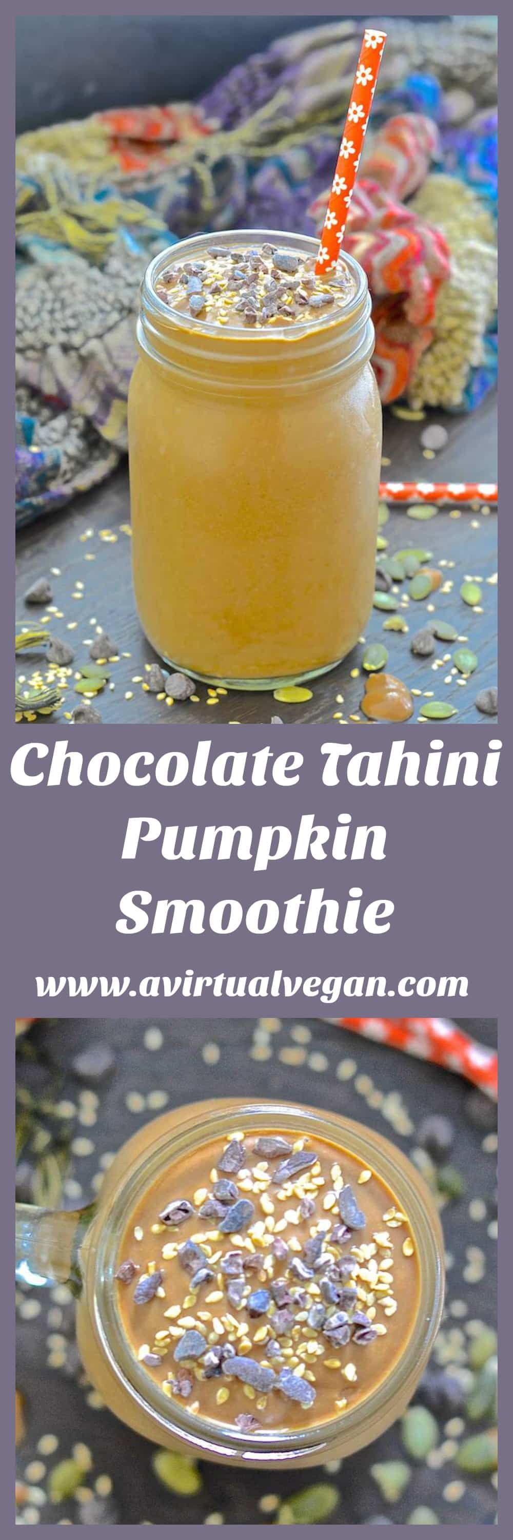 Set yourself up for the day with this velvety smooth, creamy, thick & incredibly delicious Chocolate Tahini Pumpkin Smoothie.