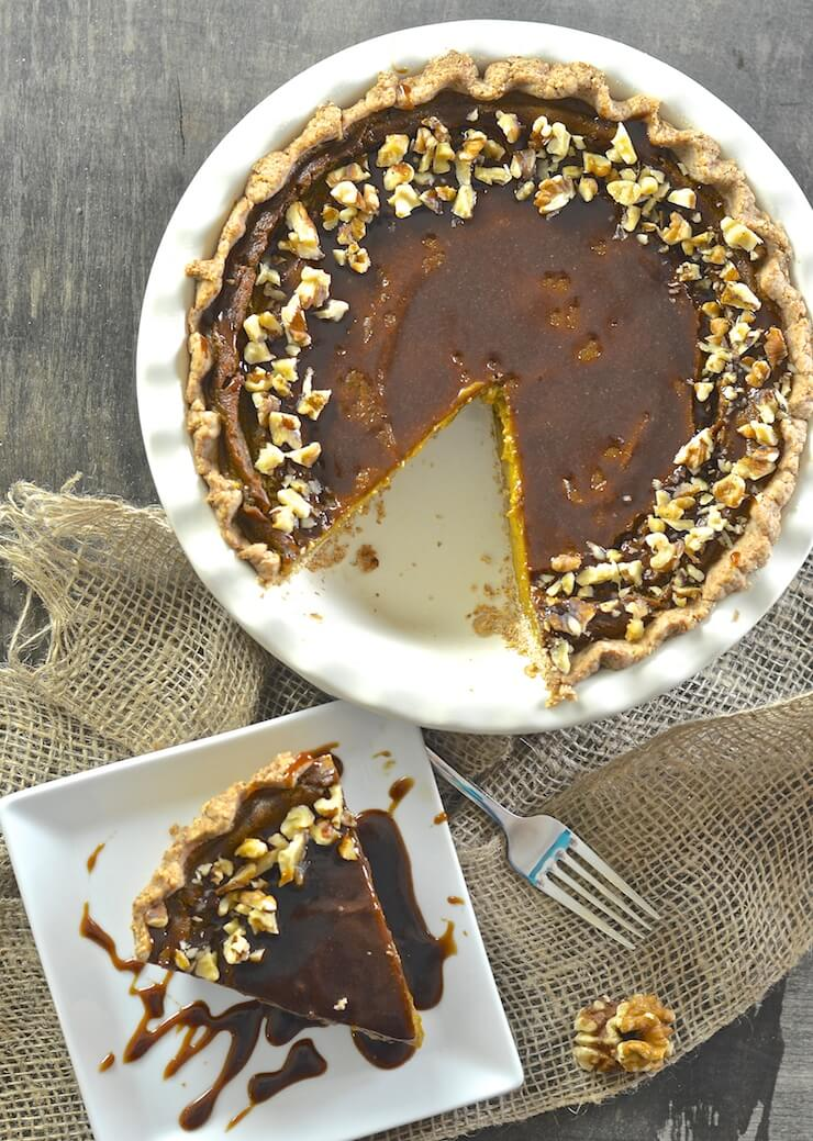 Velvety smooth, perfectly soft & custardy vegan pumpkin pie with a deliciously crisp pastry crust. Add to that a drizzle of decadently rich, warm caramel sauce & you have THE best fall dessert!
