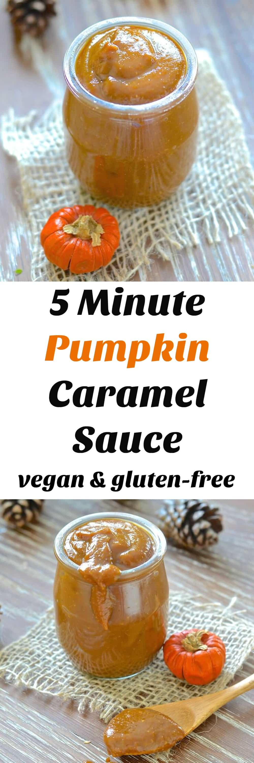 Silky, creamy & rich Vegan Pumpkin Caramel Sauce. Ready in only 5 minutes! Ridiculously easy & just full of sweet pumpkin deliciousness!
