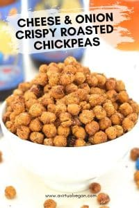 Ridiculously crunchy & addictive Cheese & Onion Roasted Chickpeas. The perfect savoury snack and totally dairy, gluten & oil-free!
