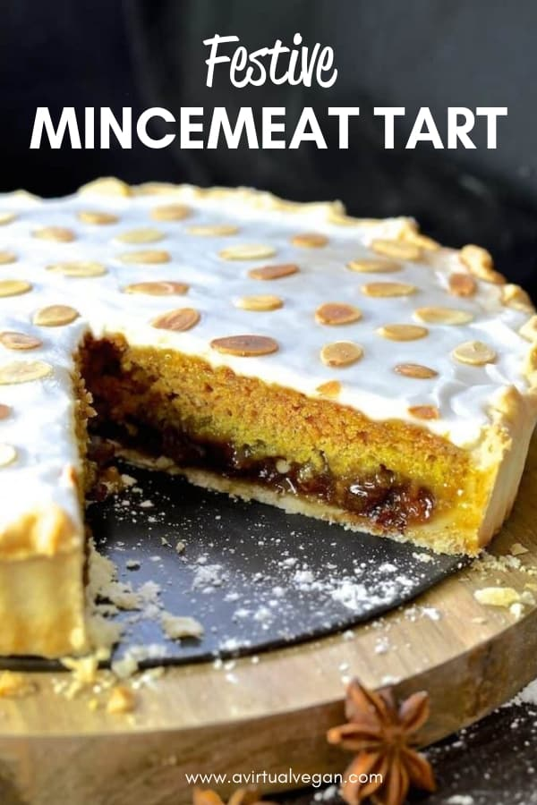 A Festive Mincemeat Tart with crisp pastry, sweet mincemeat, spice infused sponge & sweet frosting. It's rich, indulgent & perfect for the holidays! #christmas #mincemeat